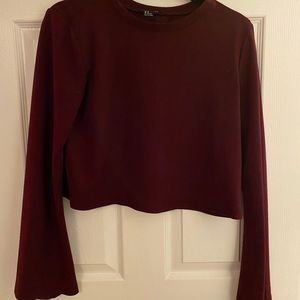 Long flare sleeve top with open back